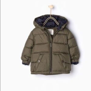 Zara Baby Boy Green Hooded Quilted Puffer Jacket